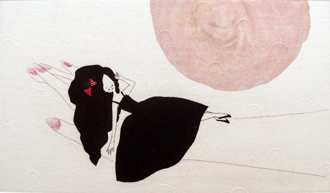 出口春菜 シック、かわいい、女性、版画。