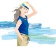 坂本明美 人物、女性、ファッション、カレンダー、ポスター、広告イラストレーション。
