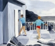 古屋智子 装画、挿絵、建物、風景、線画、人物、四季、アクリル。