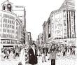 八朔モモ ペン画、人物、ノスタルジック、背景、建物、群衆、街。