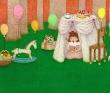 堀川友里 装画、児童書、パステル、水彩、色鉛筆、女の子、動物、風景。