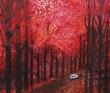 石川ゆかり 手描き、風景、街、自然、アクリル絵の具、カラーインク。