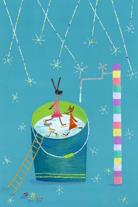 近藤万里恵 ファンタジー 、メルヘン、子ども、童画、アクリルガッシュ、色鉛筆。