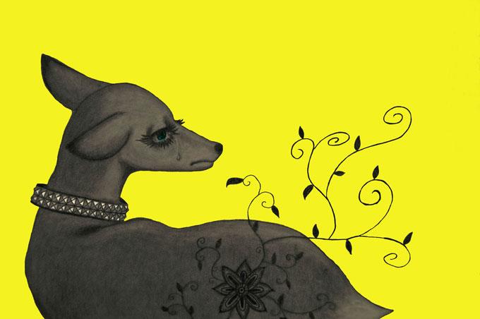 三木香 ロック、動物、ピアス、鉛筆、Photoshop。