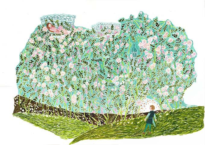ミナミタエコ アクリル、こども、植物、花、童話、装画コンペvol.12グランプリ。