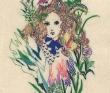 宮城高子 刺繍、フェルト、 クロッキー用紙、色鉛筆、装画コンペVol.20 鈴木久美賞。
