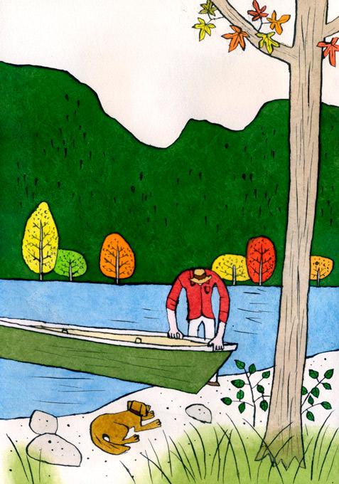 岡崎勝男 挿絵、風景、漫画、紙、インク、墨、水彩絵の具。