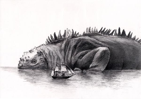 佐俣水緒 動物、風景、静物、装画コンペ Vol.17 準グランプリ、木炭、アクリルガッシュ。
