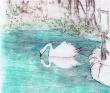 楯川友佳子 木版画。風景、人物、シンプル、ノスタルジック。