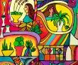 白井裕子 明るい、色とりどり、異国、ラテン、陽気、植物、女性、子ども、アクリル、キャンバス。